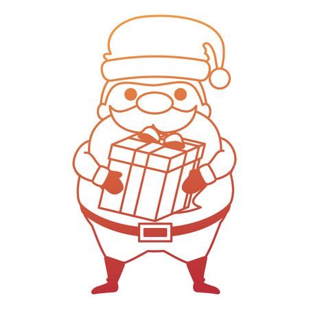 Cute Santa Claus with gift character vector illustration design.
