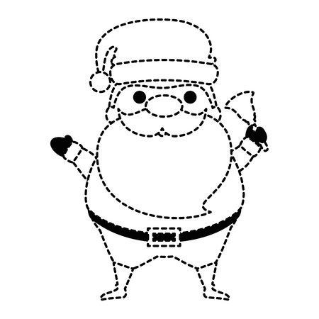 Cute Santa Claus with bell character vector illustration design.