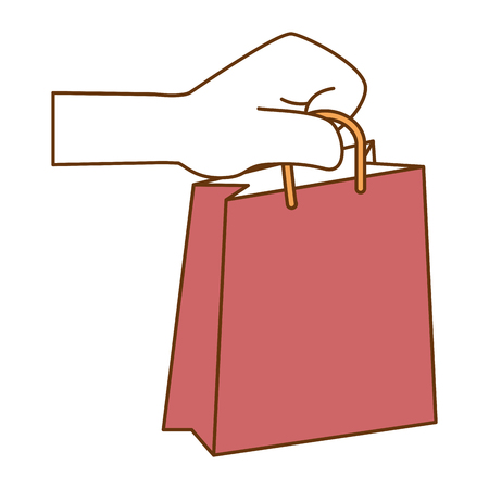 Hand with shopping bag isolated icon vector illustration design Illustration