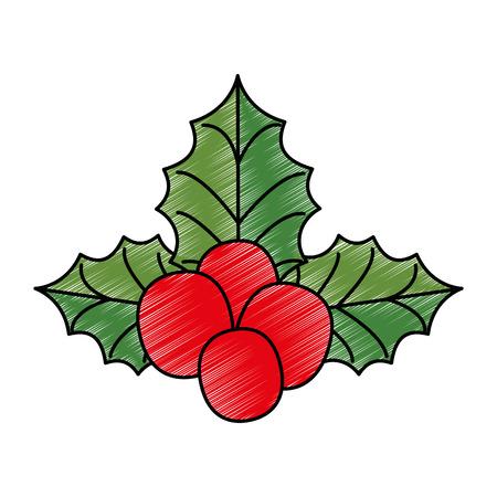 Christmas leafs decorative icon vector illustration design Çizim