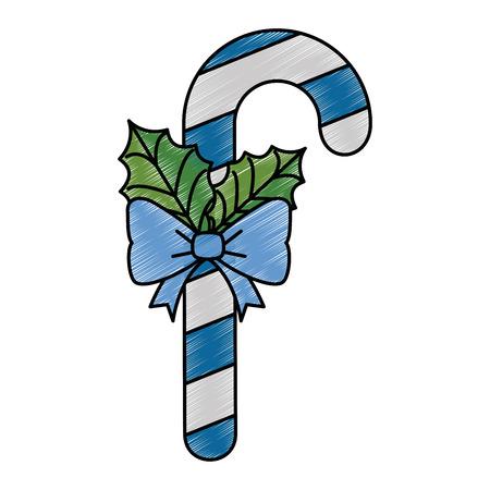 크리스마스 지팡이 장식 아이콘 벡터 일러스트 디자인 일러스트