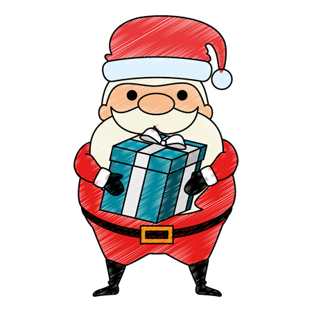 cute santa claus with gift  character vector illustration design