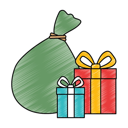 Santa claus bag with giftboxes  illustration design. Illustration