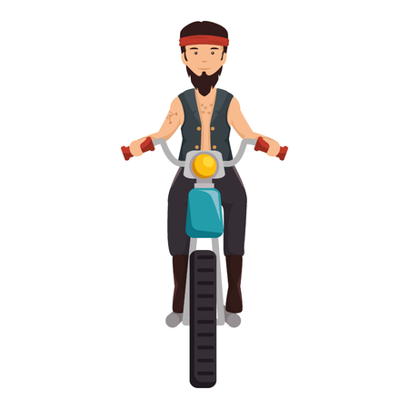 Rough motorcyclist with bandana avatar character illustration design.