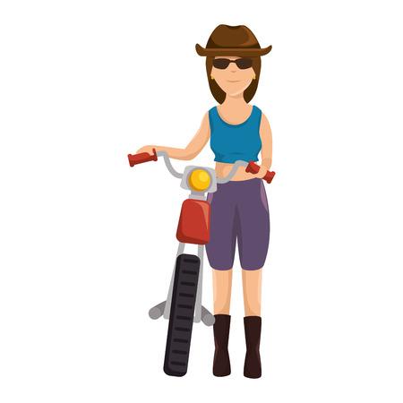 여성 오토바이 모자 아바타 문자로 그림 디자인입니다.