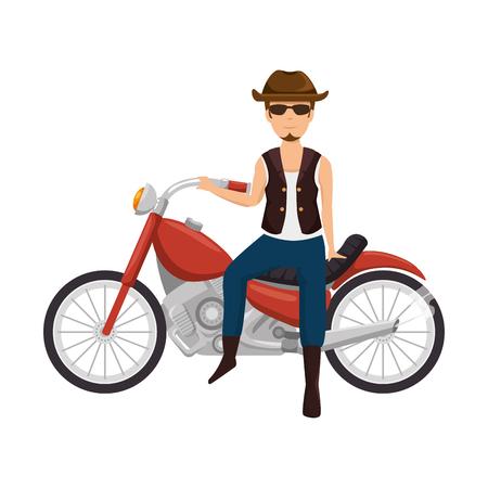 Motard brut avec la conception d'illustration de caractère avatar chapeau. Banque d'images - 92232447