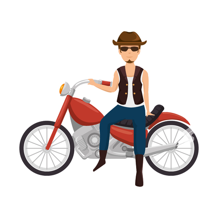 Rough motorcyclist with hat avatar character illustration design.
