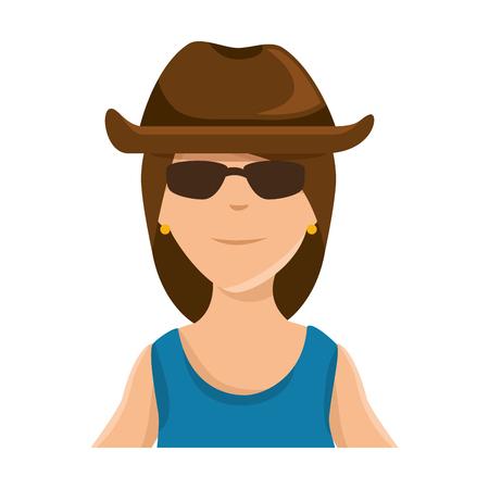 帽子アバターキャラクターイラストデザインの女性モーターサイクリスト。  イラスト・ベクター素材