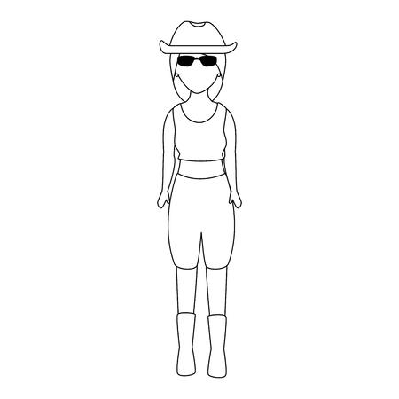 Motociclista sexy com design de ilustração de vetor de personagem de avatar de chapéu Foto de archivo - 92229624