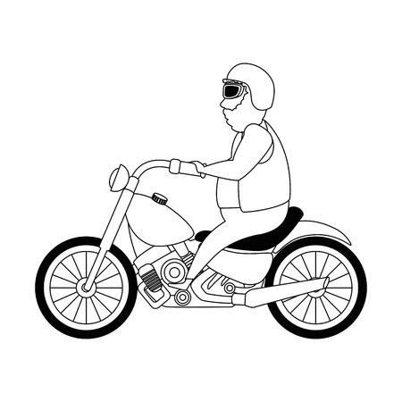 Rough motorcyclist avatar character vector illustration design