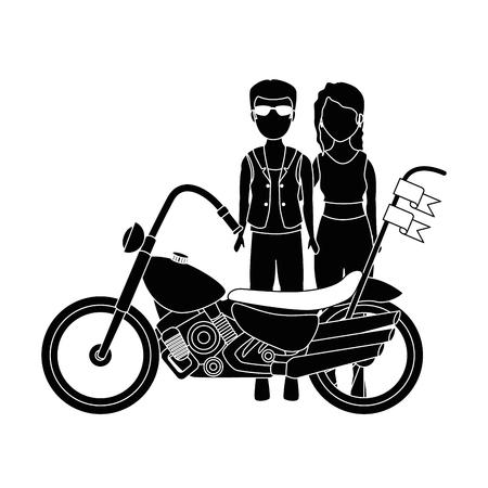Motocyclette couple avatar caractère vector illustration design Banque d'images - 92240479