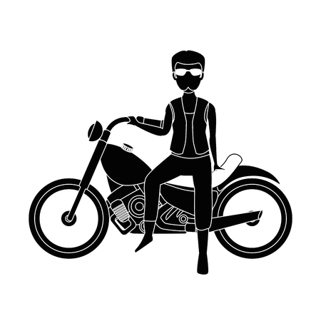 Motorcyclist avatar character vector illustration design