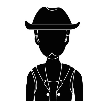 Male with hat avatar character vector illustration design