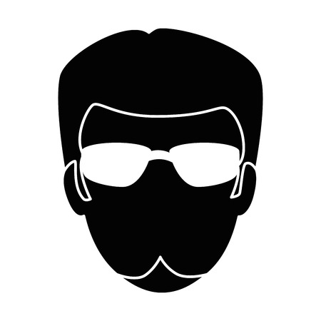 Motorcyclists head avatar character vector illustration design