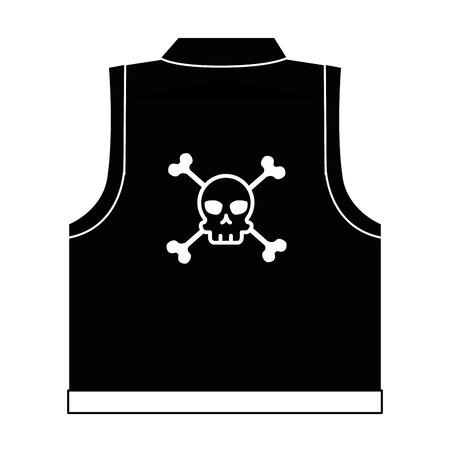 motorcyclist vest with skull icon vector illustration design