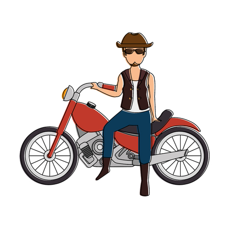 Rough motorcyclist with hat avatar character vector illustration design