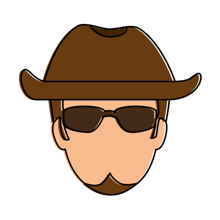 Rough motorcyclist with hat avatar illustration design. Ilustracja