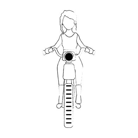 sexy motorcyclist avatar character vector illustration design