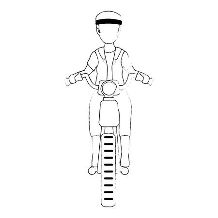 rough motorcyclist avatar character vector illustration design Çizim