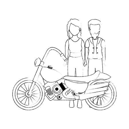 Motard brute couple avatar caractère vector illustration design Banque d'images - 92273993