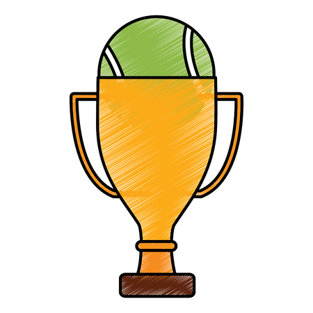 Tennis trophy with ball