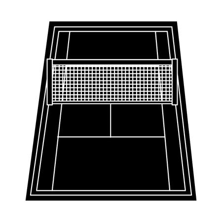 Campo per il gioco del tennis con i segni e la griglia illustrazione vettoriale Archivio Fotografico - 92274089