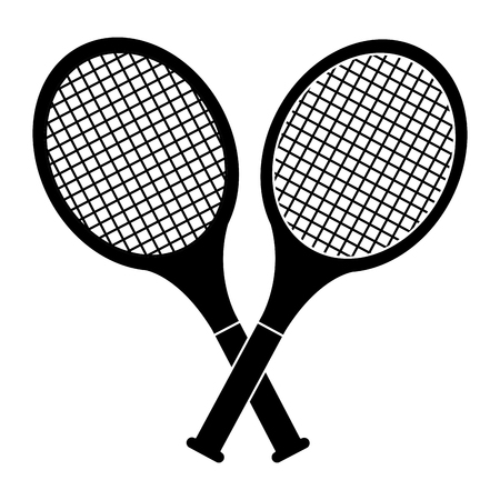 crossed tennis rackets in retro design vector illustration 向量圖像