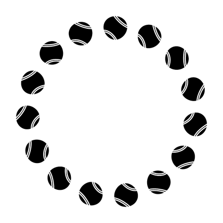 circle with tennis balls sport image vector illustration Çizim