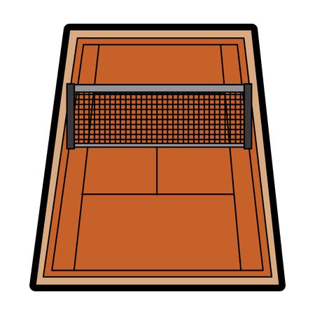 veld voor het spel van tennis met de markeringen en raster vectorillustratie Stock Illustratie