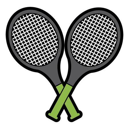 crossed tennis rackets in retro design vector illustration Stock Illustratie