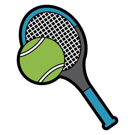tennisracket en bal apparatuur sport vector illustratie