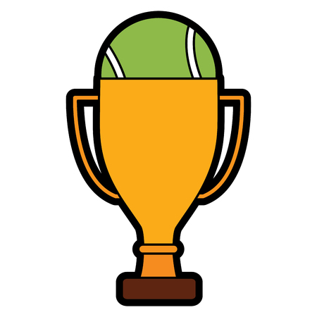 tennis trophy and ball champion competition sport vector illustration Illustration