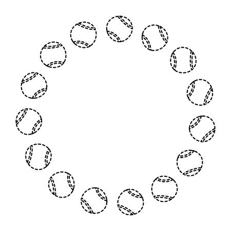 circle with tennis balls sport image vector illustration 向量圖像