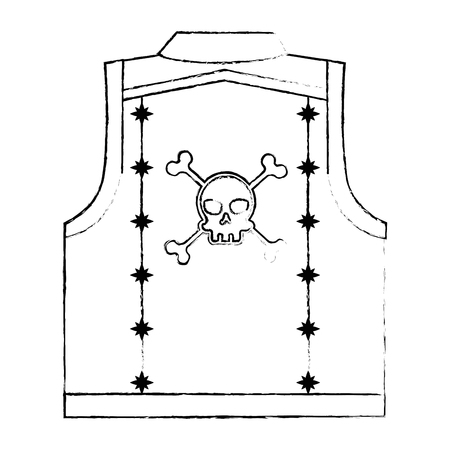 Motorcyclist vest with skull icon