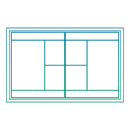 Tennis field court grass grid top view vector illustration
