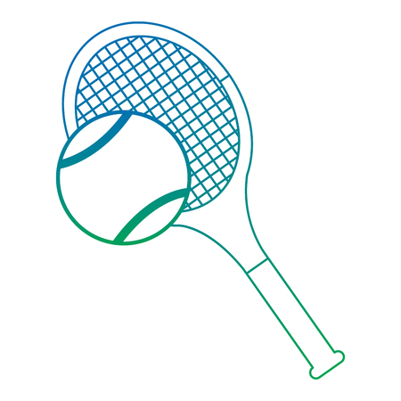 Tennis racket and ball equipment sport vector illustration Ilustração