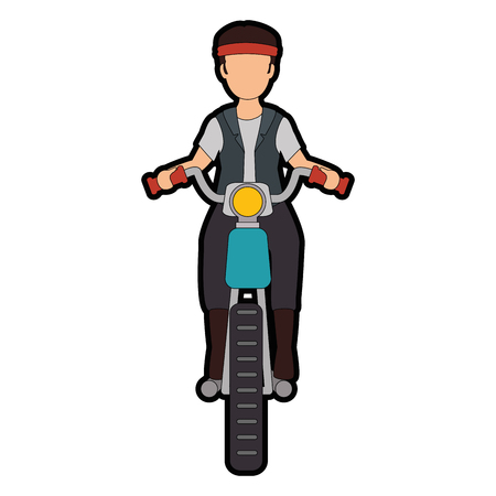 Rough motorcyclist avatar character vector illustration design