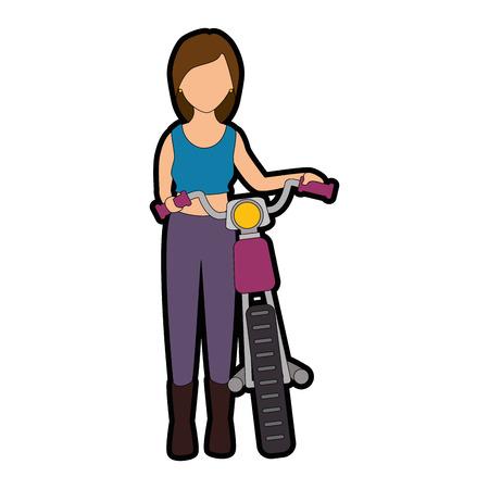 섹시한 오토바이 아바타 캐릭터 벡터 일러스트 레이션 디자인