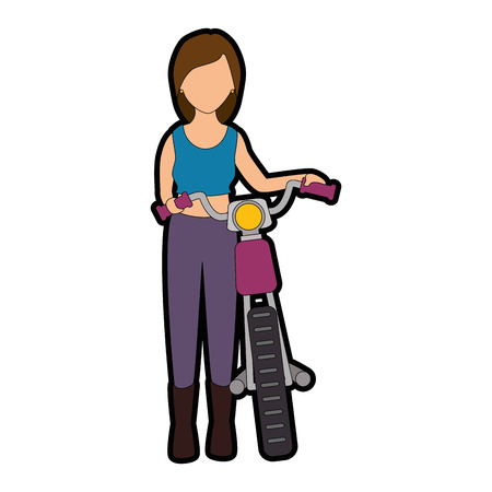 sexy motorcyclist avatar character vector illustration design