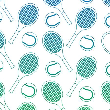 tennis ball racket sport seamless pattern vector illustration