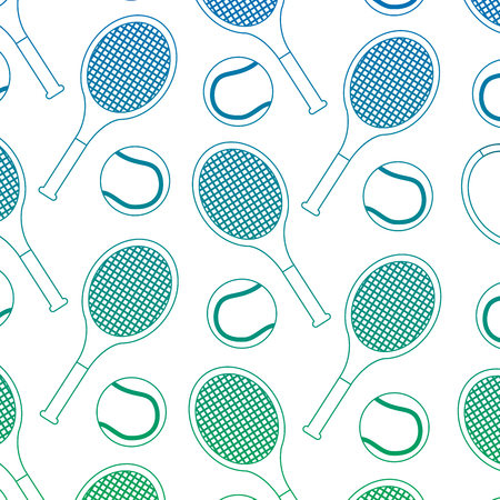 tennis ball racket sport seamless pattern vector illustration