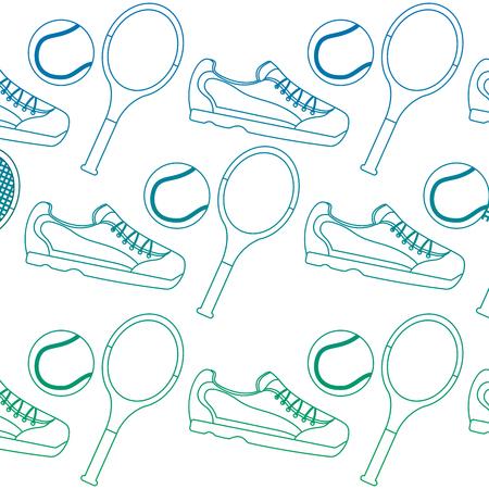 sport tennis ball racket sneaker seamless pattern vector illustration
