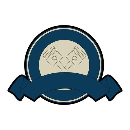 emblem motorcycle pistons icon vector illustration design