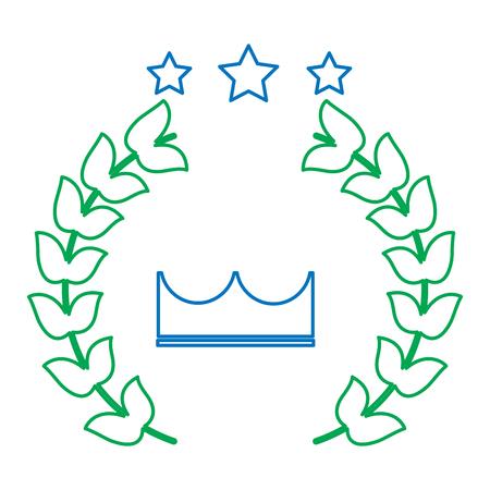 crown laurel wreath stars winner emblem image vector illustration design