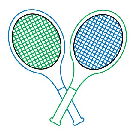 tennis racquets crossed icon image vector illustration design