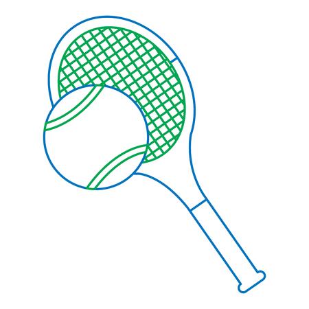 テニスラケットとボールアイコン画像ベクトルイラストデザイン