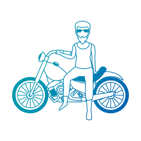 rough motorcyclist avatar character vector illustration design Illustration