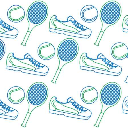 tennis racquet sneakers  and ball icon image vector illustration design