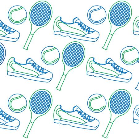 tennisracket sneakers en bal pictogram afbeelding vector illustratie ontwerp