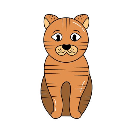 줄무늬 고양이 만화 애완 동물 아이콘 이미지 벡터 일러스트 디자인